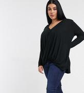 Vero Moda Curve wrap t-shirt with lace trim detail in black