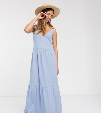 Asos Tall ASOS DESIGN Tall Exclusive strappy tiered maxi dress in chambray