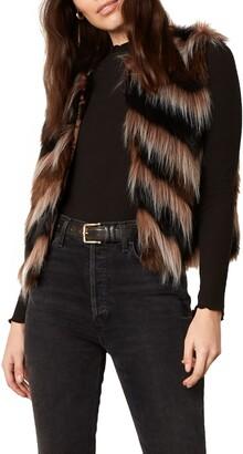 BB Dakota Fur Your Consideration Chevron Stripe Faux Fur Vest