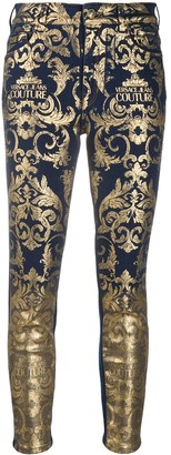 Versace Baroque-Print Skinny Jeans