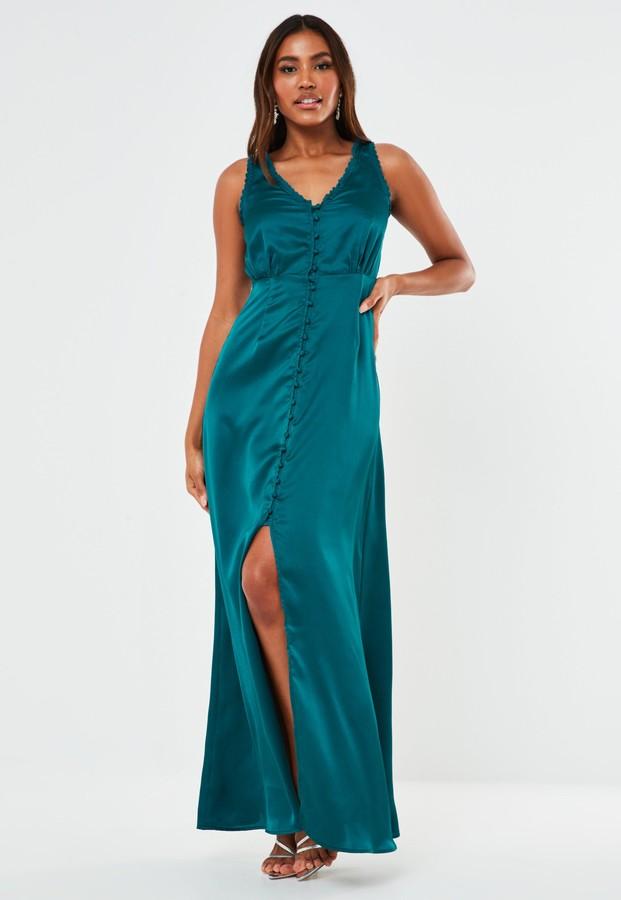 Missguided Teal Satin Sleeveless Maxi Bridesmaid Dress