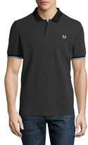Fred Perry Checkerboard-Print Piqué Polo Shirt, Graphite Marl