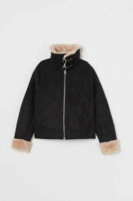 H&M Faux Fur-lined Jacket - Black