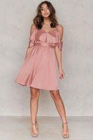 Cold Shoulder Frill Sleeve Dress
