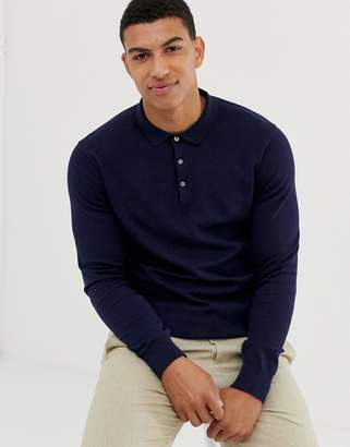 Jack and Jones knitted polo in navy