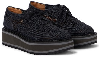 Clergerie Birdie raffia flatform Derby shoes