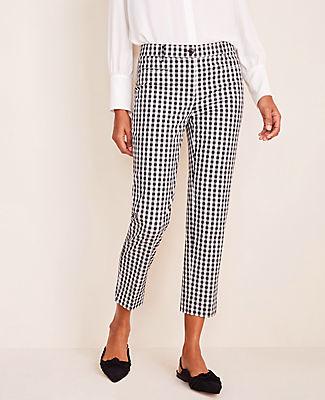 Ann Taylor The Petite Gingham Cotton Crop Pant - Curvy Fit