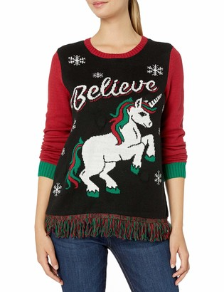Ugly Christmas Sweater Junior's Light Up - Believe Pullover Sweater