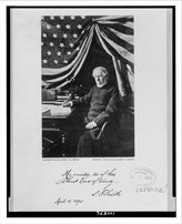 Snapshots of the Past Historic Print (L): [Samuel Francis Smith, three-quarter-length portrait, seated at desk, facing left] / Pho