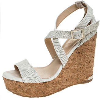 Jimmy Choo White Woven Leather Portia Cork Wedge Platform Ankle Strap Sandals Size 36.5