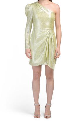 Silk Blend One Shoulder Sequin Dress
