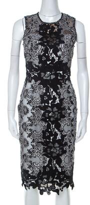 Marchesa Monochrome Floral Lace Sleeveless Pencil Dress S