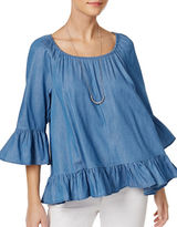 Style And Co. Petite Petite Ruffled Denim Top