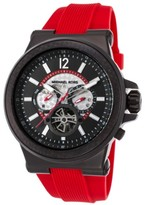 Michael Kors Men's Dylan Automatic Red Silicone Two-Tone Dial Black Ion Plated SS