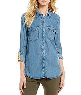 Westbound Point Collar Shirttail Hem Button Front Top