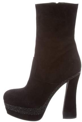 Miu Miu Suede Platform Ankle Boots