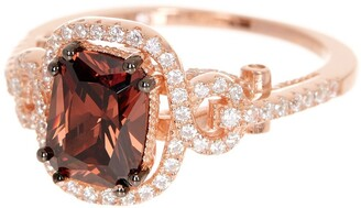 Suzy Levian 14K Rose Gold Plated Sterling Silver Brown Chocolate CZ Ring