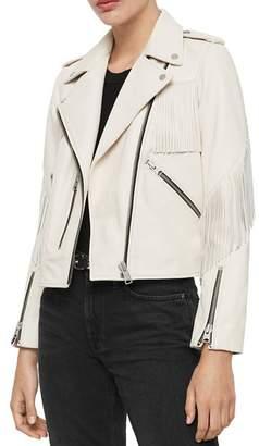 AllSaints X Fringe-Trim Leather Biker Jacket - 100% Exclusive