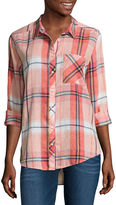 Arizona Long Sleeve Boyfriend Plaid-Juniors