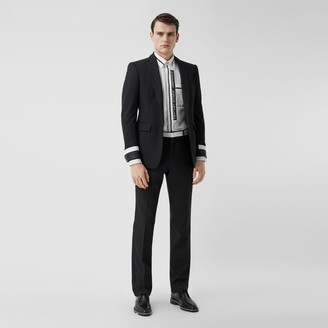 Burberry Classic Fit Lambskin Detail Wool Tailored Trousers