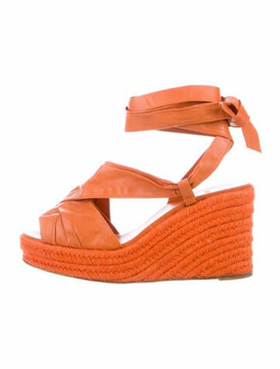 Hermes Leather Espadrilles Orange