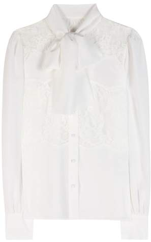 Dolce & Gabbana Lace-paneled silk blouse
