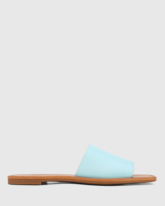 Wittner - Women's Blue Sandals - Barron Leather Flat Slides - Size One Size, 36 at The Iconic