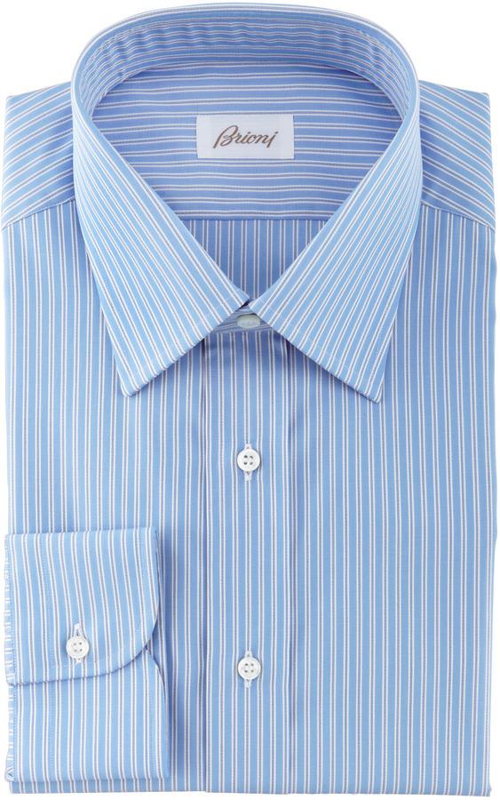 Brioni Track Striped Dress Shirt, Blue