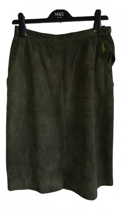 Jaeger Khaki Suede Skirt for Women Vintage