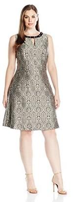 London Times Women's Plus Size Embellished Neck Full Skirt Dress