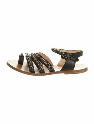 Chanel Chain-Link Accent Leather Gladiator Sandals Black