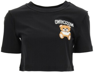 Moschino Embroidered Bear Reverse Logo Cropped T-Shirt