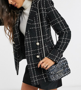My Accessories London Exclusive boucle cross body bag with chain strap in navy