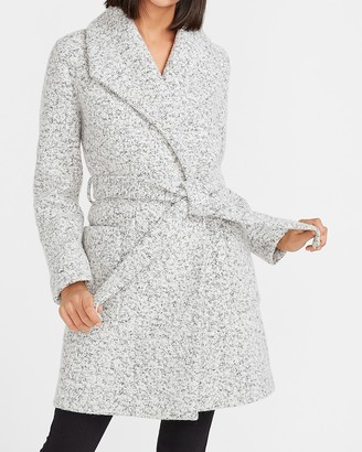 Express Speckled Tweed Wrap Wool-Blend Coat