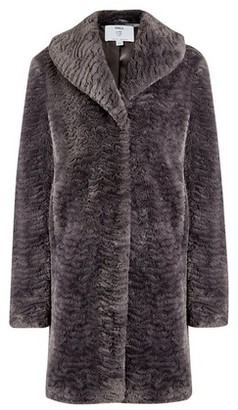 Dorothy Perkins Womens Dp Tall Grey Shawl Collar Faux Fur Coat, Grey
