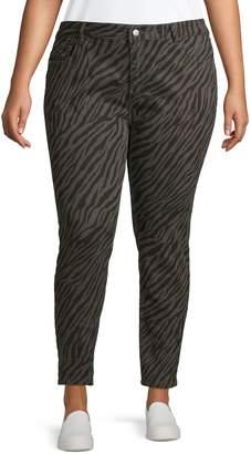 Gabrielle Plus Zebra-Print Twill Pants