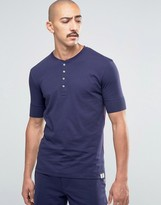 Paul Smith Short Sleeve Henley Top In Slim Fit Navy