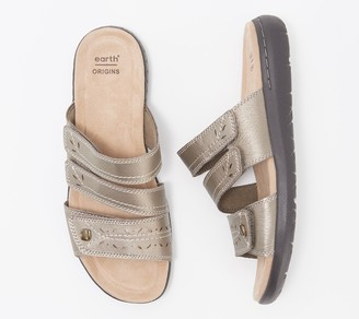 Earth Origins Leather Cut-Out Slide Sandals - Tawny Tenley