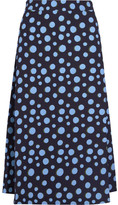 House of Holland Spotlight Polka-dot Crepe Midi Skirt - Blue