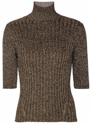 Ganni Ribbed-knit turtleneck top