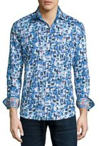 Robert Graham Salton Sea Printed Long-Sleeve Sport Shirt, Cobalt