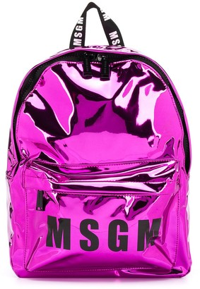 Msgm Kids Metallic Logo Backpack