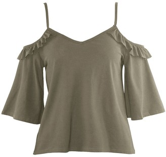 Oops Fashion Star Womens Cami Strappy 3/4 Cold Shoulder Frill Top Wine Medium (UK 10)