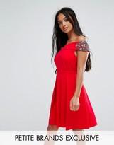 Little Mistress Petite Embellished Off Shoulder Wrap Mini Dress