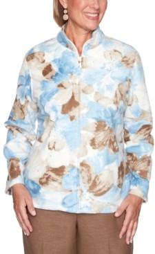 Alfred Dunner Petite Dover Cliffs Watercolor Floral Polar Fleece Jacket