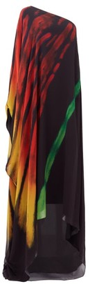 Halpern Brushstroke-print One-shoulder Crepe Kaftan - Black Print