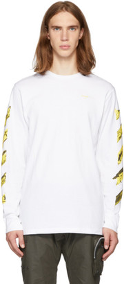 Off-White SSENSE Exclusive White and Yellow Acrylic Arrows Long Sleeve T-Shirt