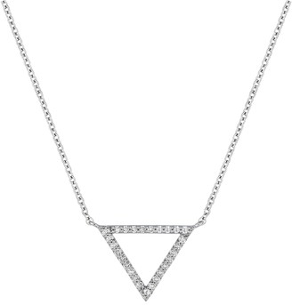 Carriere Sterling Silver Pave Diamond Open Triangle Pendant Necklace - 0.14 ctw