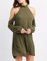 Charlotte Russe Mock Neck Cold Shoulder Shift Dress