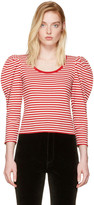 Marc Jacobs Red Striped Puff Sleeve T-Shirt